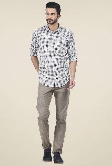 Basics White & Blue Checkered Slim Fit Shirt
