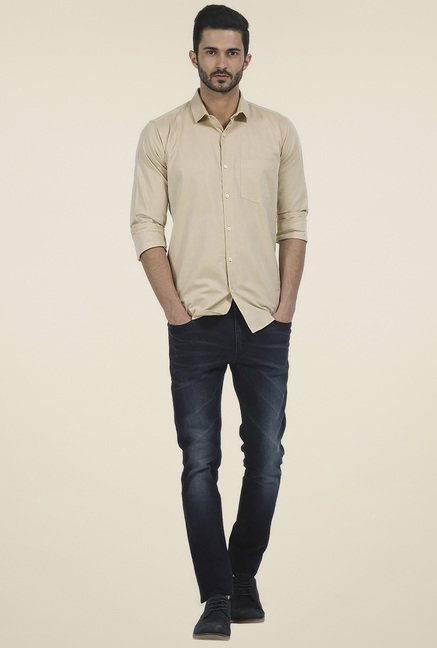 Basics Beige Full Sleeves Shirt