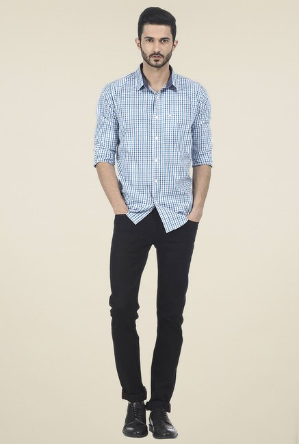 Basics Blue Full Sleeves Checkered Shirt