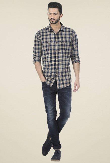 Basics Multicolor Slim Fit Checkered Shirt