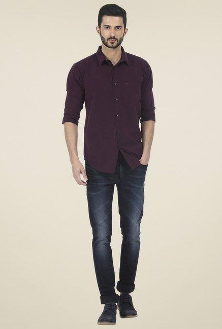 Basics Burgundy Slim Fit Shirt
