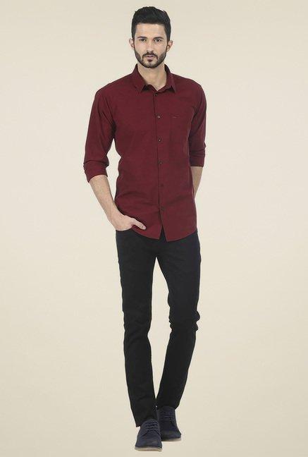 Basics Red Cotton Slim Fit Shirt