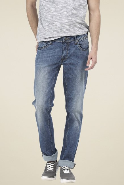 Basics Blue Low Rise Slim Fit Jeans