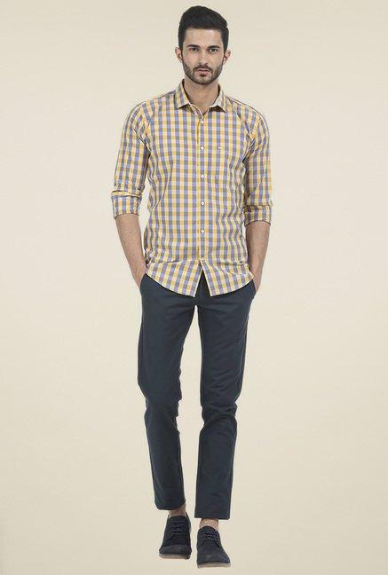 Basics Yellow Checkered Shirt