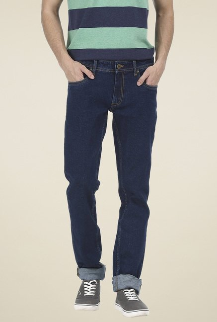 Basics Navy Low Rise Solid Jeans