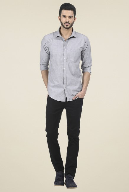 Basics Grey Cotton Slim Fit Shirt