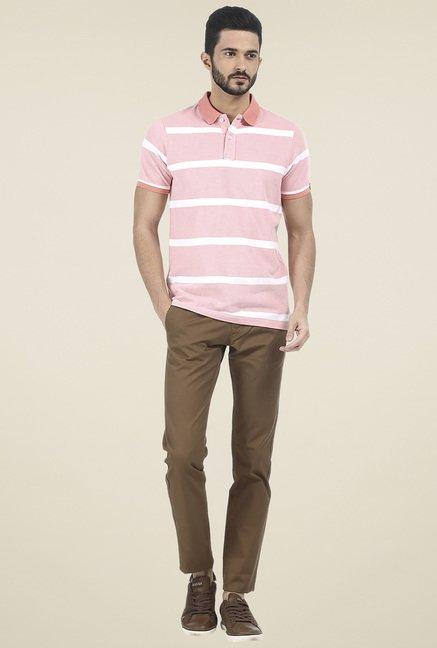 Basics Pink Striped Polo T-Shirt