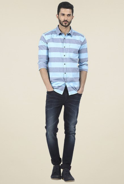 Basics Blue & Light Blue Striped Shirt