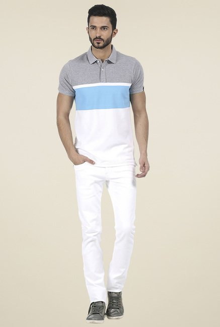 Basics Grey Striped Polo T-Shirt