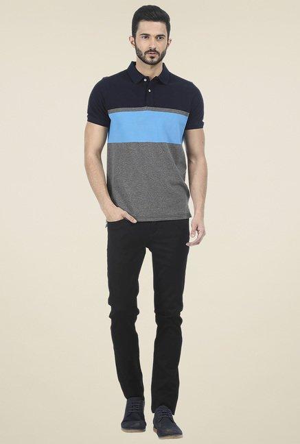 Basics Navy Striped Polo T-Shirt