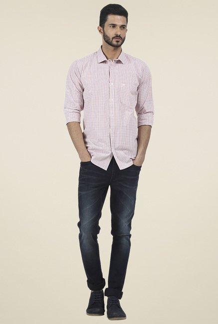 Basics Pink Checkered Slim Fit Shirt