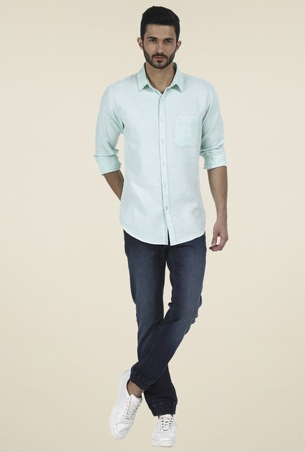 Basics Green Full Sleeves Cotton Shirt