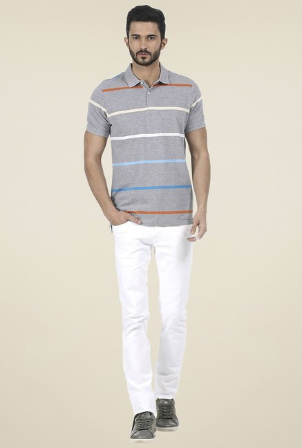 Basics Grey Slim Fit Striped T-Shirt