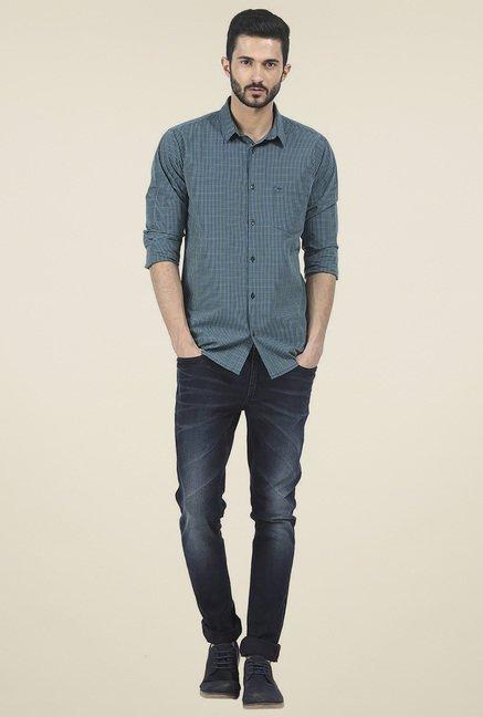 Basics Green Checkered Slim Fit Shirt