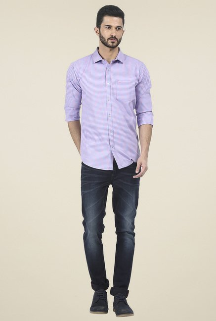 Basics Purple Full Sleeves Cotton Shirt