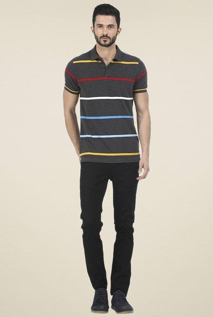 Basics Dark Grey Slim Fit Striped T-Shirt