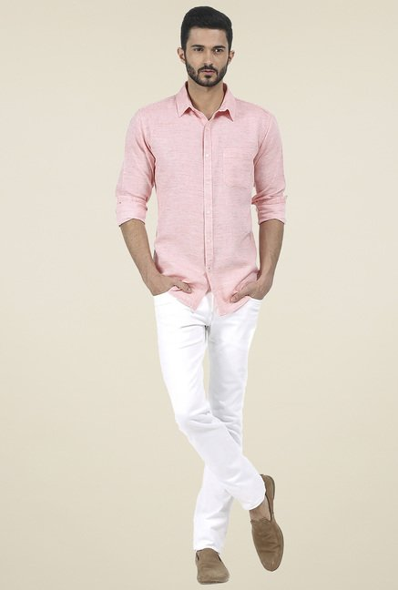 Basics Orange Slim Fit Cotton Shirt
