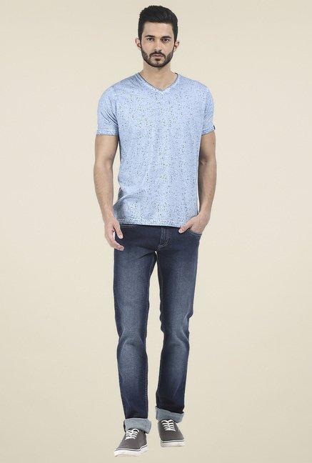 Basics Sky Blue Half Sleeves T-Shirt