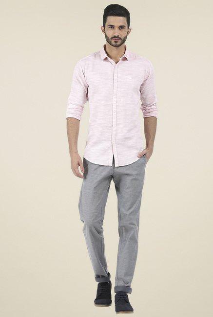Basics Light Pink Full Sleeves Slim Fit Shirt