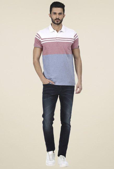 Basics Blue Slim Fit Striped T-Shirt