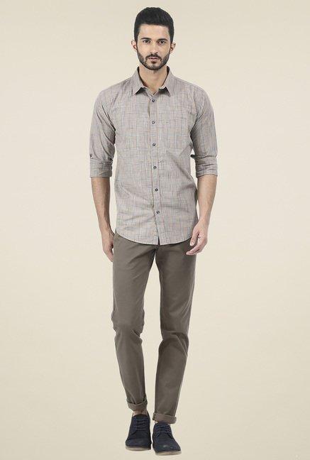 Basics Brown Checkered Full Sleeves Shirt