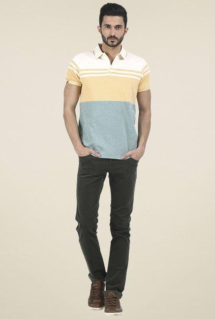 Basics Yellow Slim Fit Striped T-Shirt