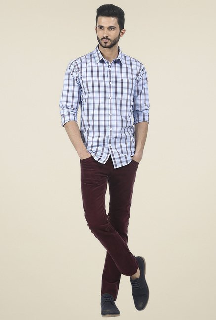 Basics Light Blue Checked Shirt