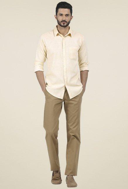 Basics Yellow Shirt Collar Full Sleeves Shirt