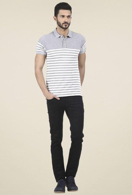 Basics Light Grey Printed Polo T Shirt