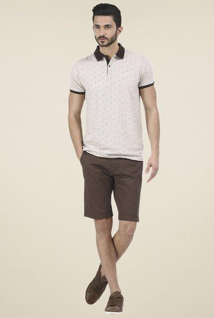 Basics Beige Printed Polo T Shirt