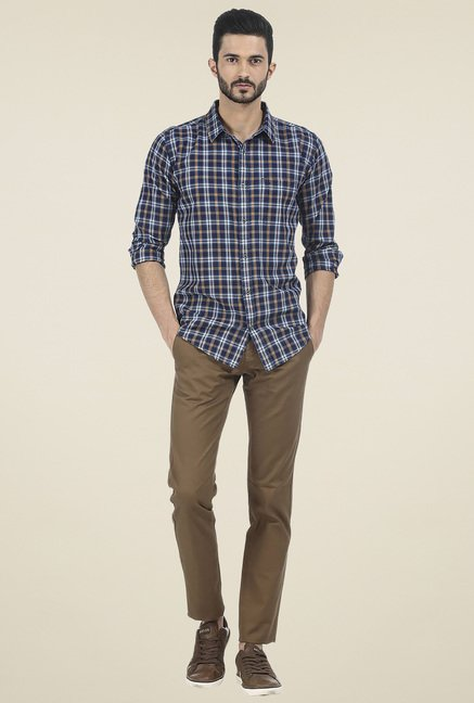Basics Navy & Brown Checkered Shirt