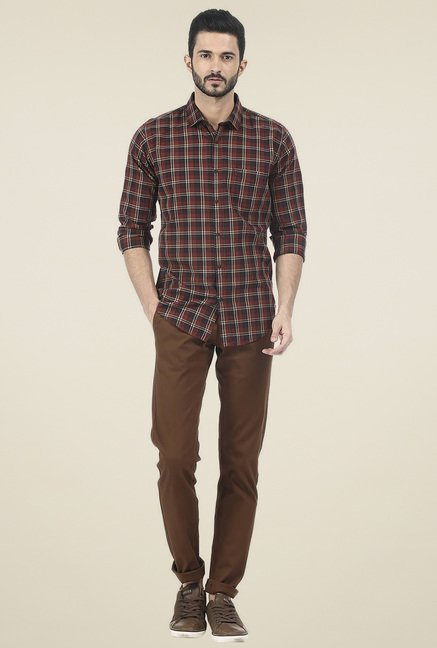 Basics Red Checked Cotton Shirt