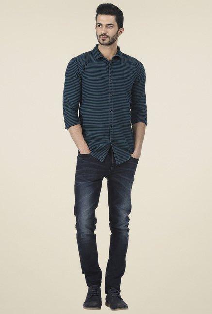 Basics Green Full Sleeves Slim Fit Shirt