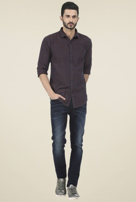 Basics Brown & Navy Striped Shirt