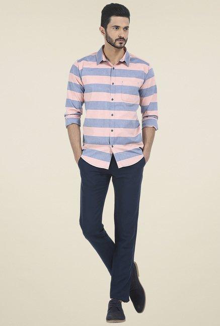 Basics Blue & Blush Striped Shirt