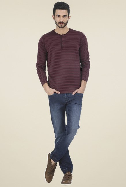 Basics Maroon Full Sleeves Henley T-Shirt