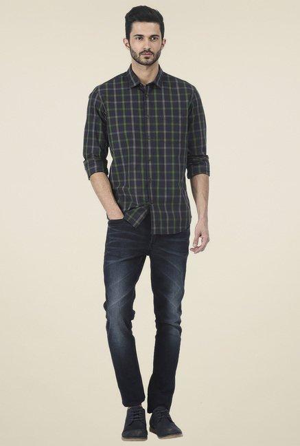Basics Navy Checkered Slim Fit Shirt