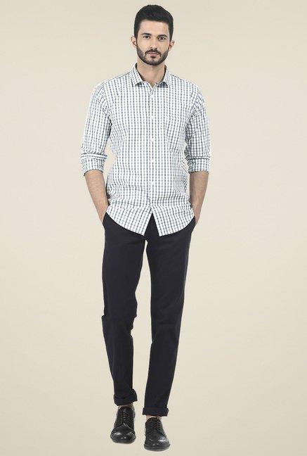 Basics White Checked Shirt