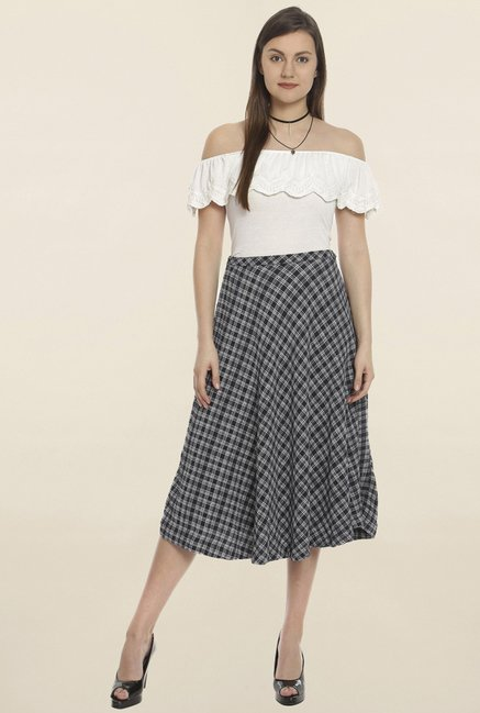 Soie Black Checks Skirt
