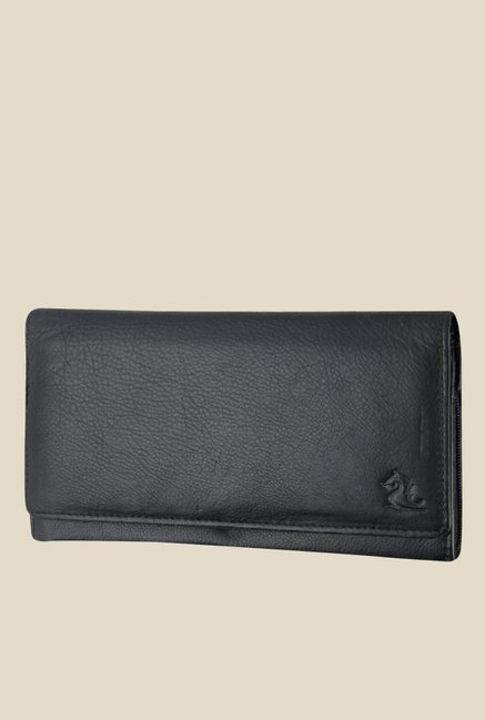 Kara Black Solid Leather Wallet