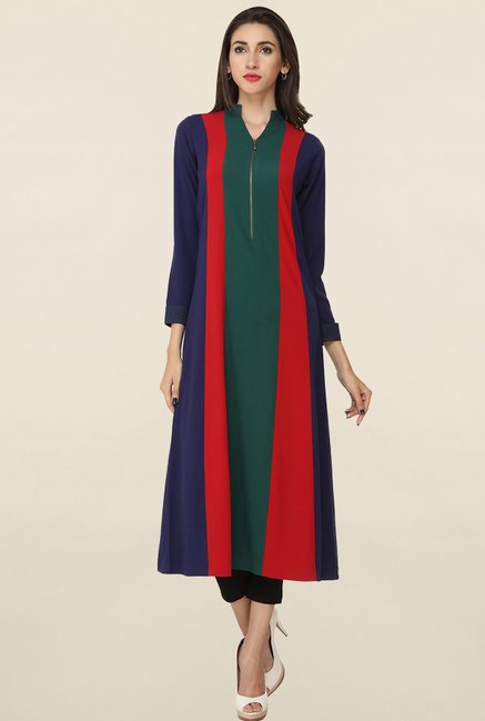 Soie Multicolor Solid Long Tunic