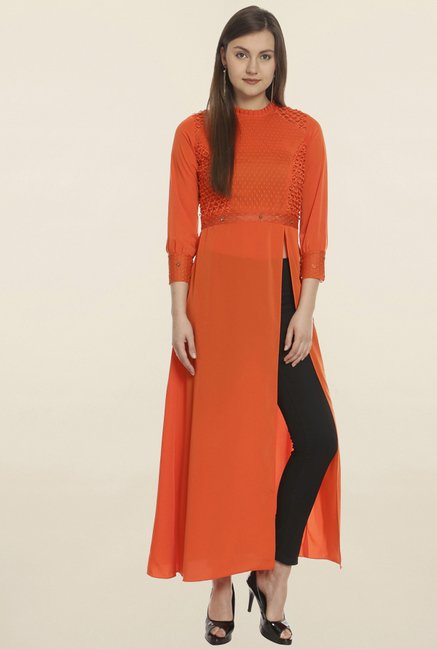 Soie Orange Embroidered Long Tunic