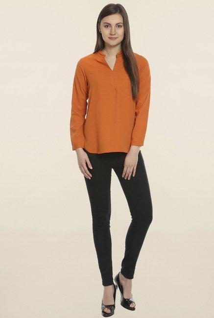 Soie Orange Textured Top