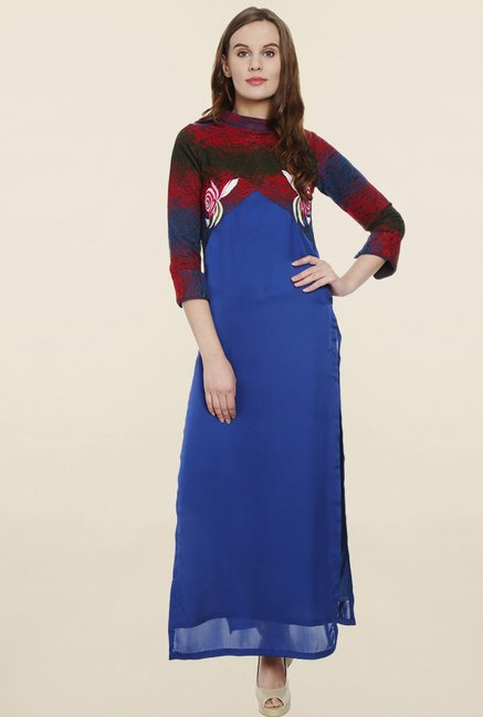 Soie Blue Embroidered Long Tunic