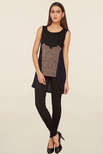 Soie Navy & Beige Embroidered Top