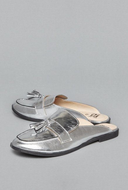 e160467f508e Buy Head Over Heels by Westside Silver Slide Sandals For Women Online At Tata  CLiQ
