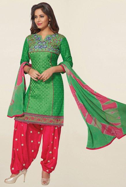 Salwar Studio Green & Pink Cotton Unstitched Patiala Suit