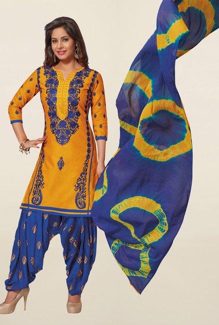 Salwar Studio Yellow & Blue Cotton Unstitched Patiala Suit