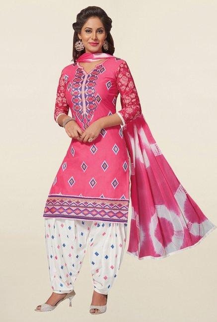 Salwar Studio Pink & White Cotton Unstitched Patiala Suit