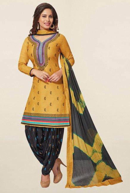 Salwar Studio Mustard & Black Cotton Unstitched Patiala Suit